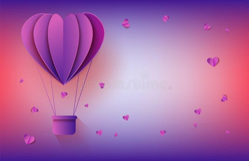 Globo del aire caliente en la forma de corazón en el arte de papel en el fondo de la pendiente para la tarjeta de felicitación ro stock de ilustración