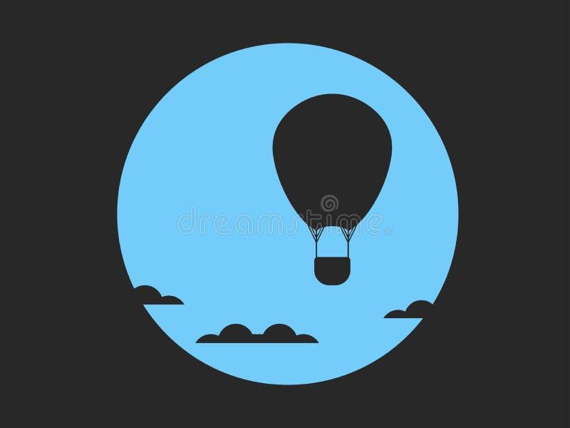 Globo del aire caliente en nubes contra la perspectiva de la luna, estilo retro, noir Vector ilustración del vector