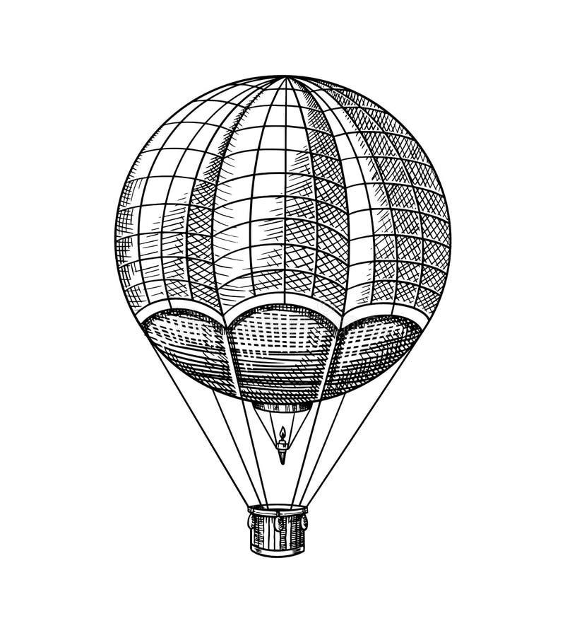 Globo del aire caliente del vintage Dirigible que vuela retro del vector con los elementos decorativos Transporte de la plantilla stock de ilustración