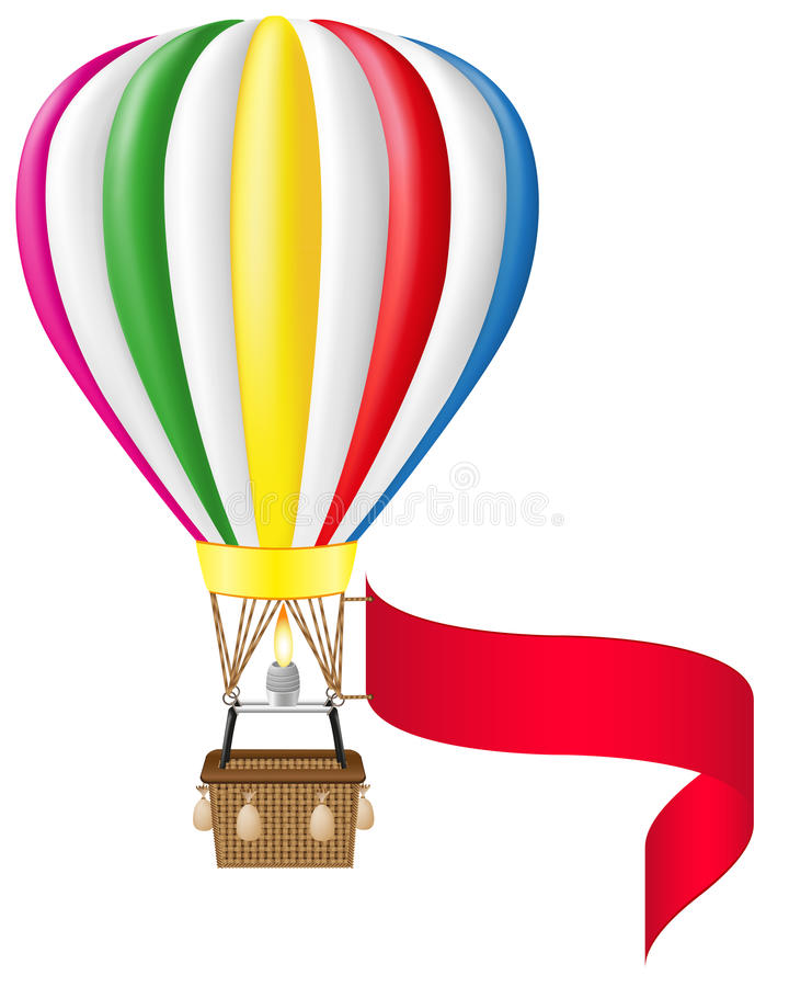 Globo del aire caliente y bandera en blanco libre illustration