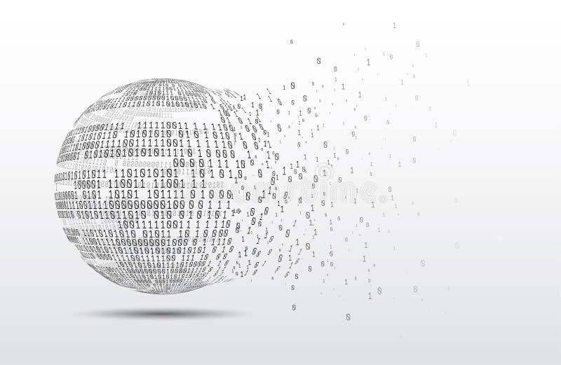 globo del c?digo binario Planeta de la tecnolog?a Datos grandes Red global Inteligencia artificial De caos al sistema fotos de archivo libres de regalías