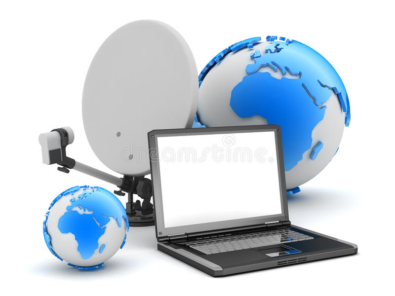 Globo del computer portatile, del satellite e della terra su fondo bianco illustrazione vettoriale
