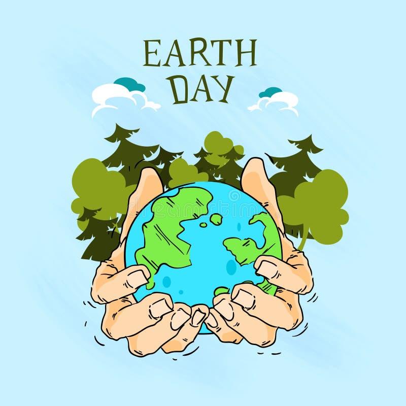 Globo del control de las manos del Día de la Tierra con los árboles Forest Sketch ilustración del vector