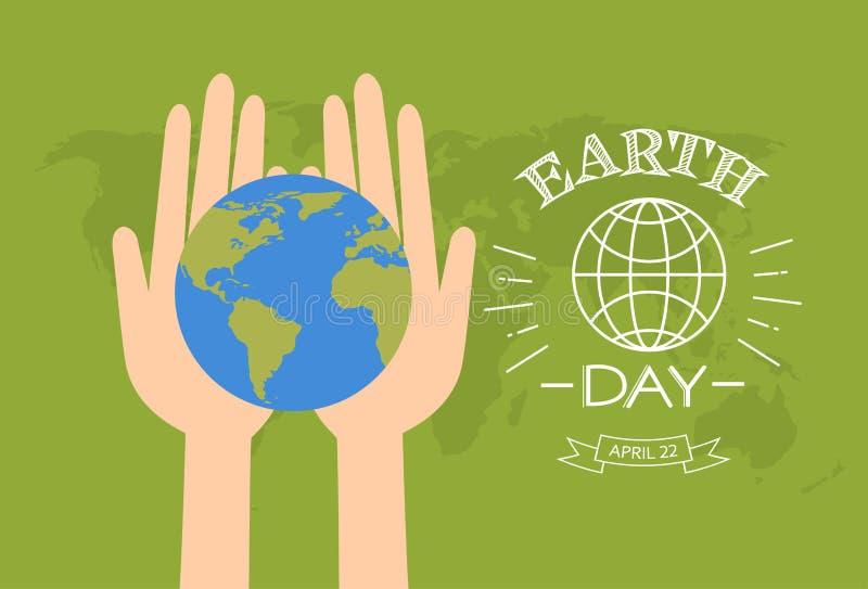 Globo del control de las manos del Día de la Tierra sobre mapa del mundo ilustración del vector