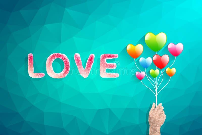 Globo del corazón y mano del polígono Ilustración abstracta del vector del amor ilustración del vector