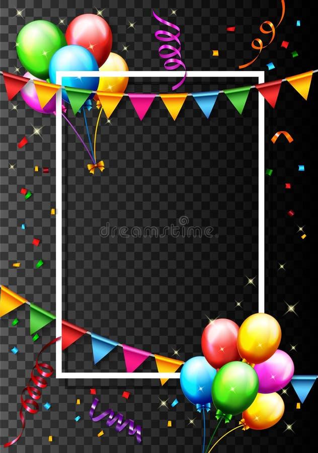 Globo del cumpleaños con el fondo del confeti ilustración del vector