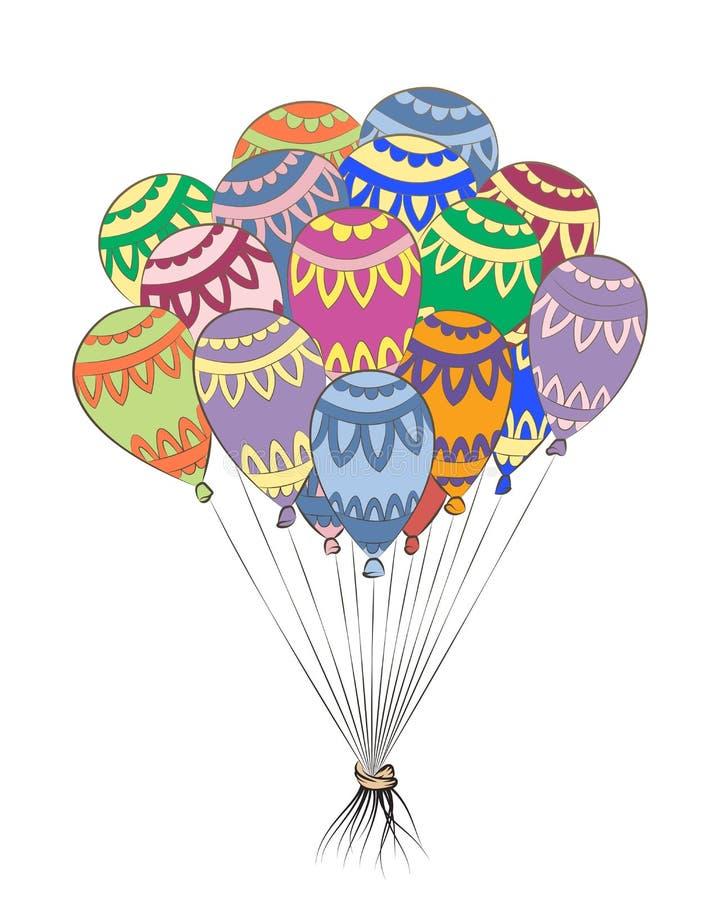 Globo del enredo del zen Zentangle del feliz cumpleaños Bolas de aire coloridas ilustración del vector