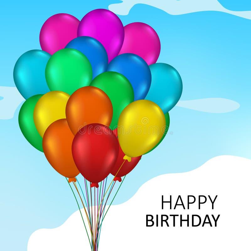 globo del helio del color colorido del arco iris del manojo que vuela 3D en el cielo para el ejemplo del concepto de la fiesta de libre illustration