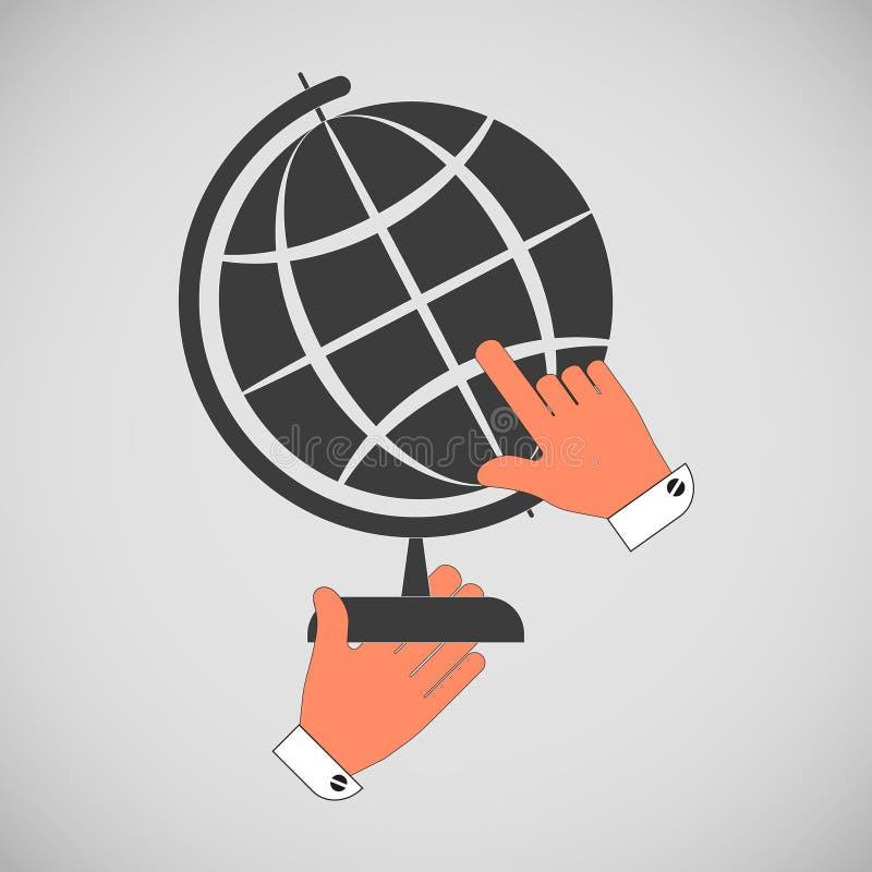 Globo del icono, disposici?n de la tierra con un soporte en las manos aisladas en un fondo gris stock de ilustración