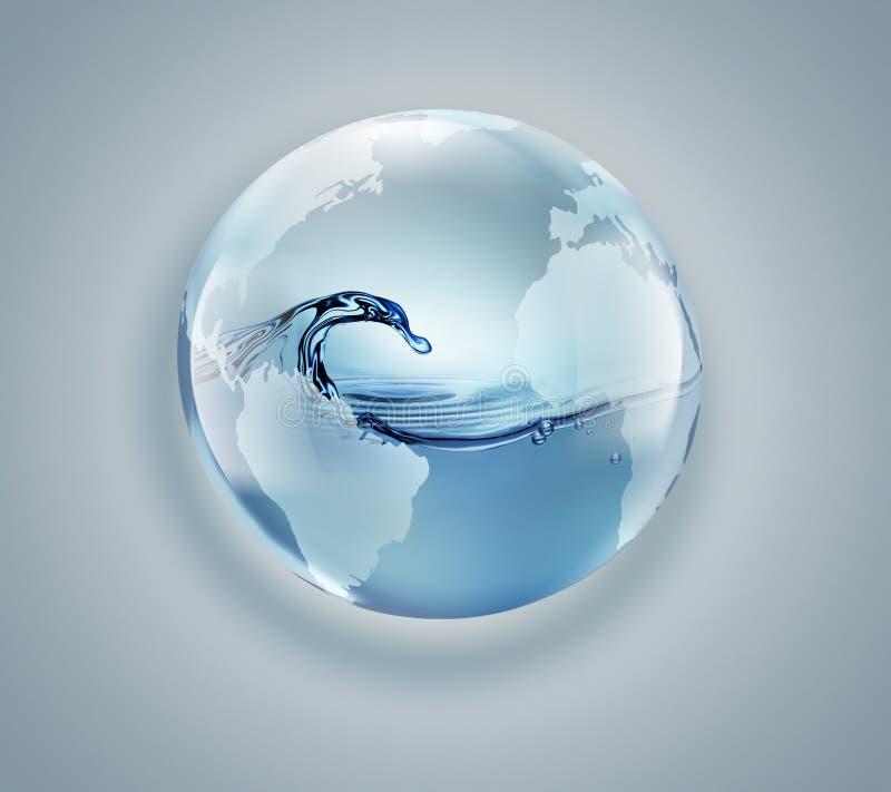 Globo del mondo con acqua pulita dentro illustrazione vettoriale