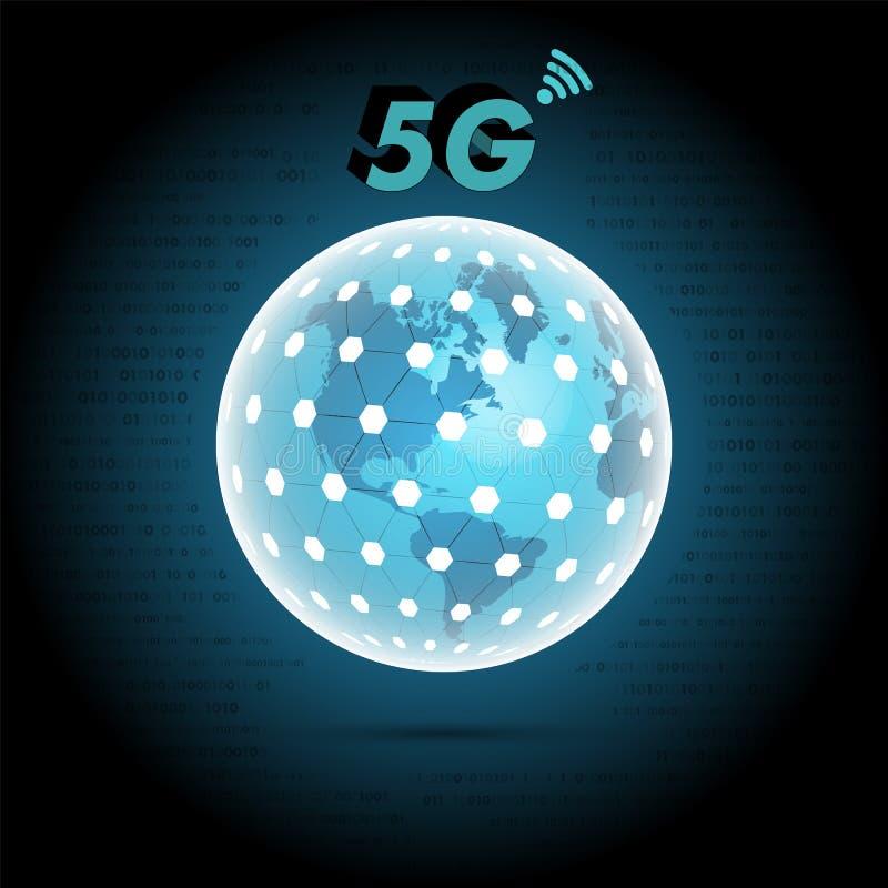 Globo del mondo con il segno mobile della rete 5g immagini stock libere da diritti