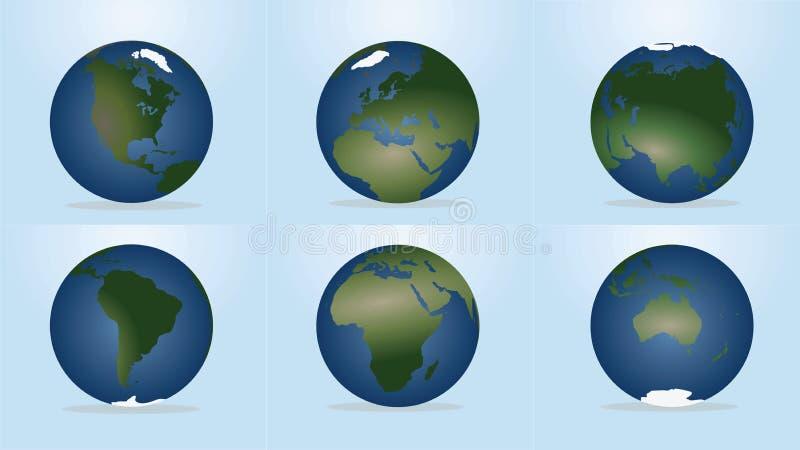 Globo del mondo con la mappa dei continenti illustrazione di stock