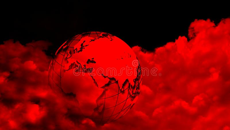 Globo del mondo con le nuvole rosse Un globo del mondo su fondo nuvoloso illustrazione vettoriale