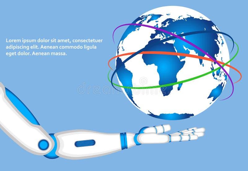 Globo del mondo della tenuta della mano del robot illustrazione di stock