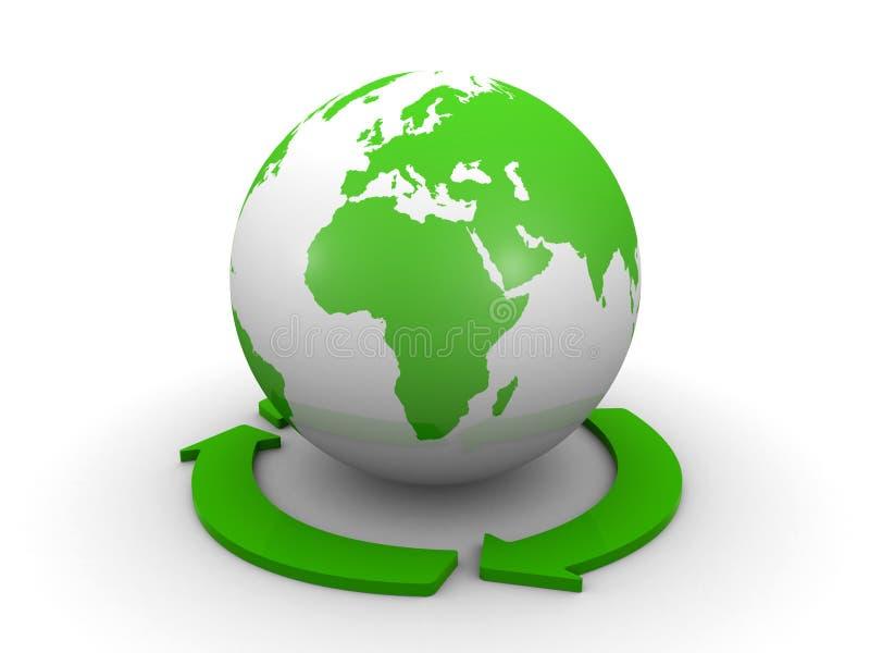 Globo del mondo e un simbolo di riciclaggio illustrazione di stock
