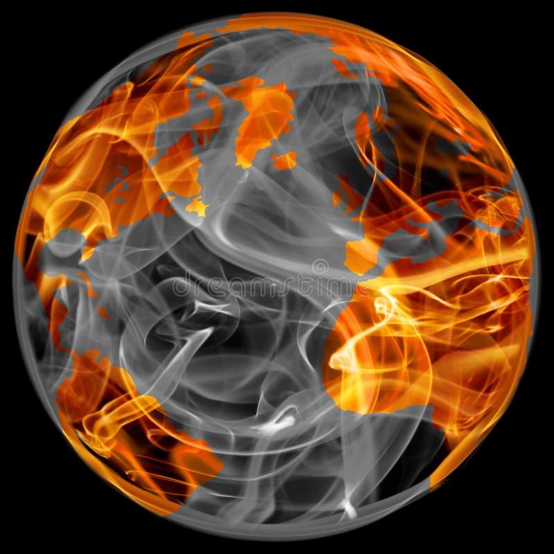 Globo del mondo in fuoco illustrazione di stock