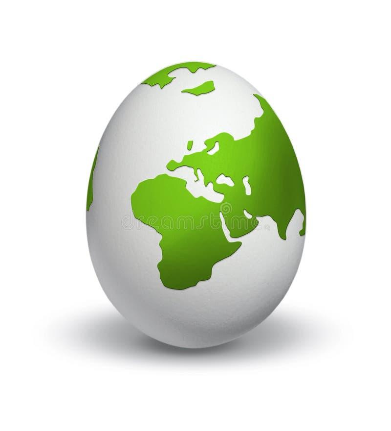 Globo del mondo sull'uovo