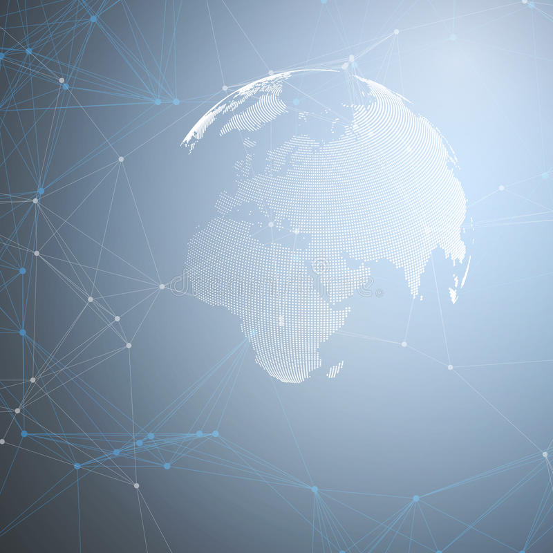 Globo del mundo con la sombra en azul Conexiones de red global abstractas, fondo del concepto de la tecnología de diseño geométri stock de ilustración