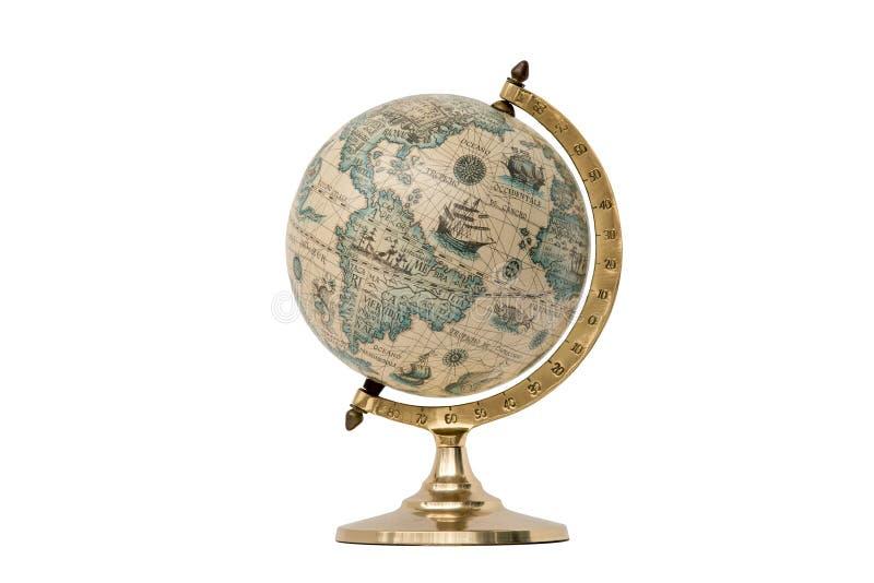 Globo del mundo del viejo estilo - aislado en blanco imagen de archivo libre de regalías