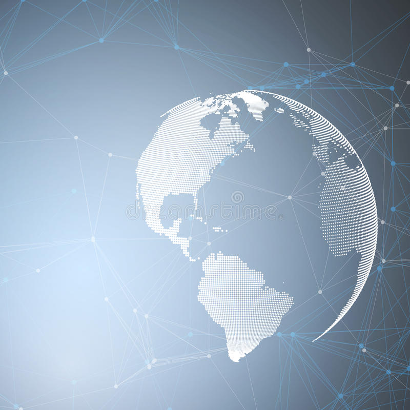 Globo del mundo en fondo azul con las líneas de conexión y los puntos, textura linear poligonal Conexiones de red global libre illustration
