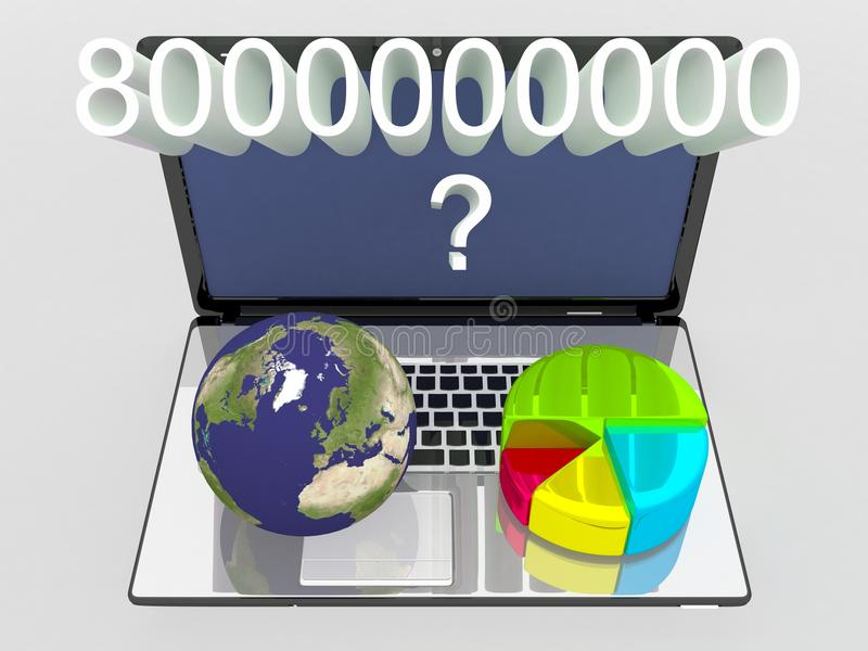Globo del mundo, mapa y gráfico de sectores 3d en un ordenador portátil stock de ilustración