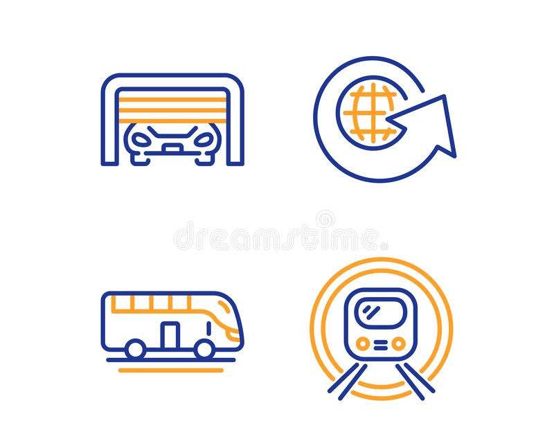 Globo del mundo, viaje del autobús y sistema de los iconos del parking Muestra del subterráneo del metro Vector ilustración del vector