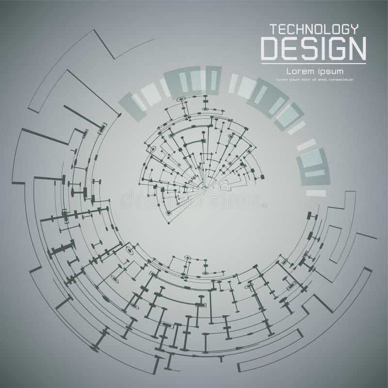 Globo del ojo futurista del extracto del ejemplo del vector en placa de circuito ilustración del vector