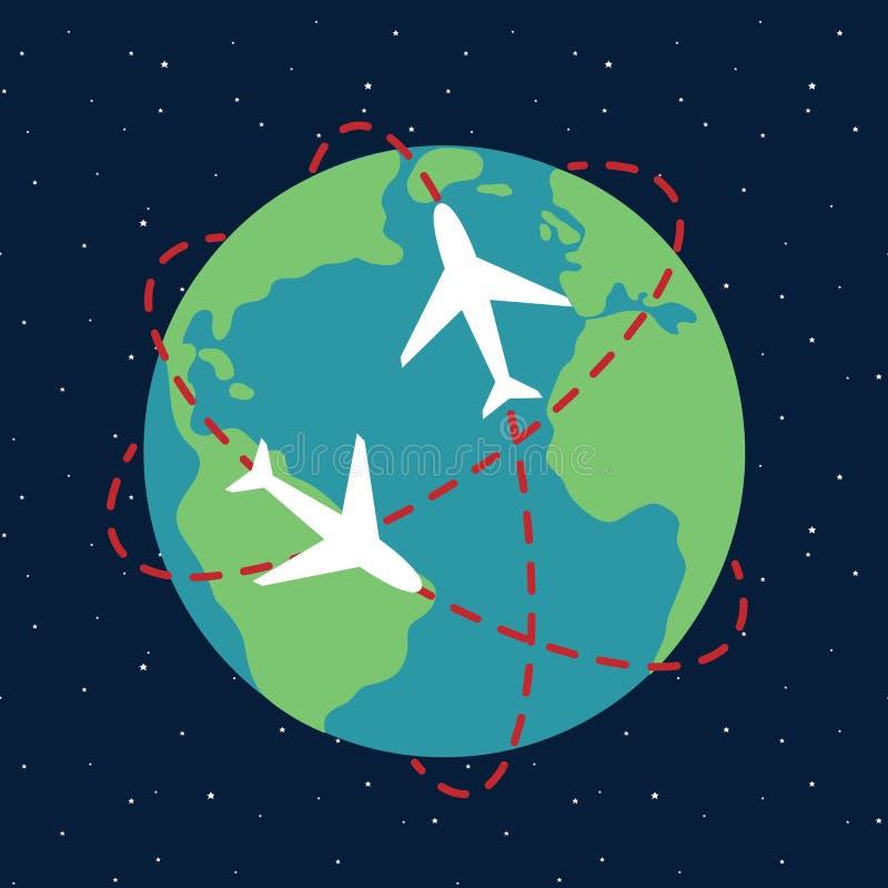 Globo del percorso dell'itinerario dell'aeroplano del pianeta Terra in stella t di notte del cielo dello spazio illustrazione vettoriale