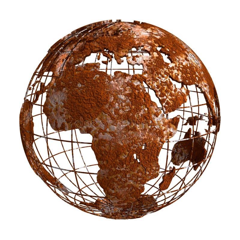 Globo del pianeta 3D di Rusty Earth illustrazione di stock