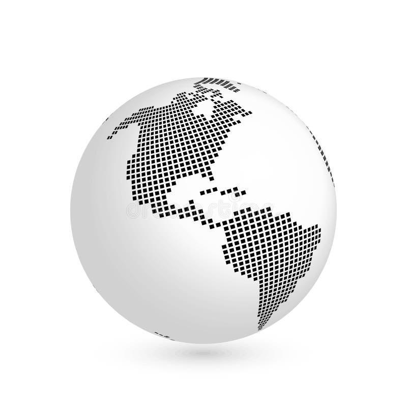 Globo del pianeta Terra con la mappa quadrata nera del continente America illustrazione di vettore 3D con ombra isolata su bianco illustrazione di stock