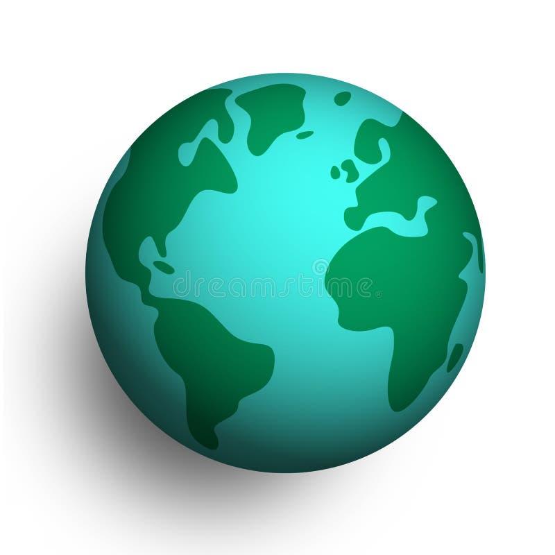 globo del planeta de la tierra 3D en fondo aislado stock de ilustración