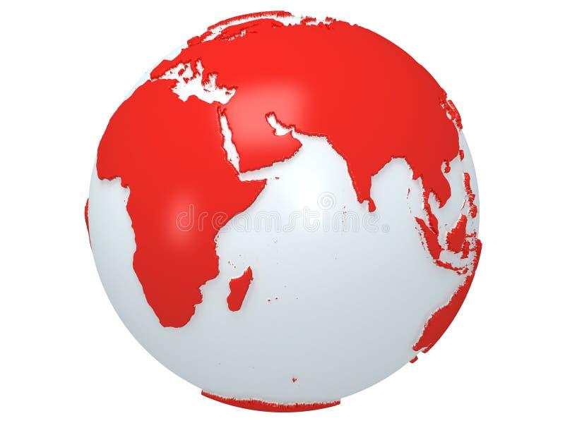 Globo del planeta de la tierra. 3D rinden. Opinión de la India. stock de ilustración