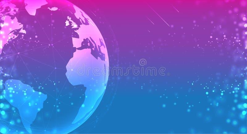 Globo del planeta de la tierra en el azul púrpura del espacio los sistemas de las conexiones alinean la composición alrededor de  stock de ilustración