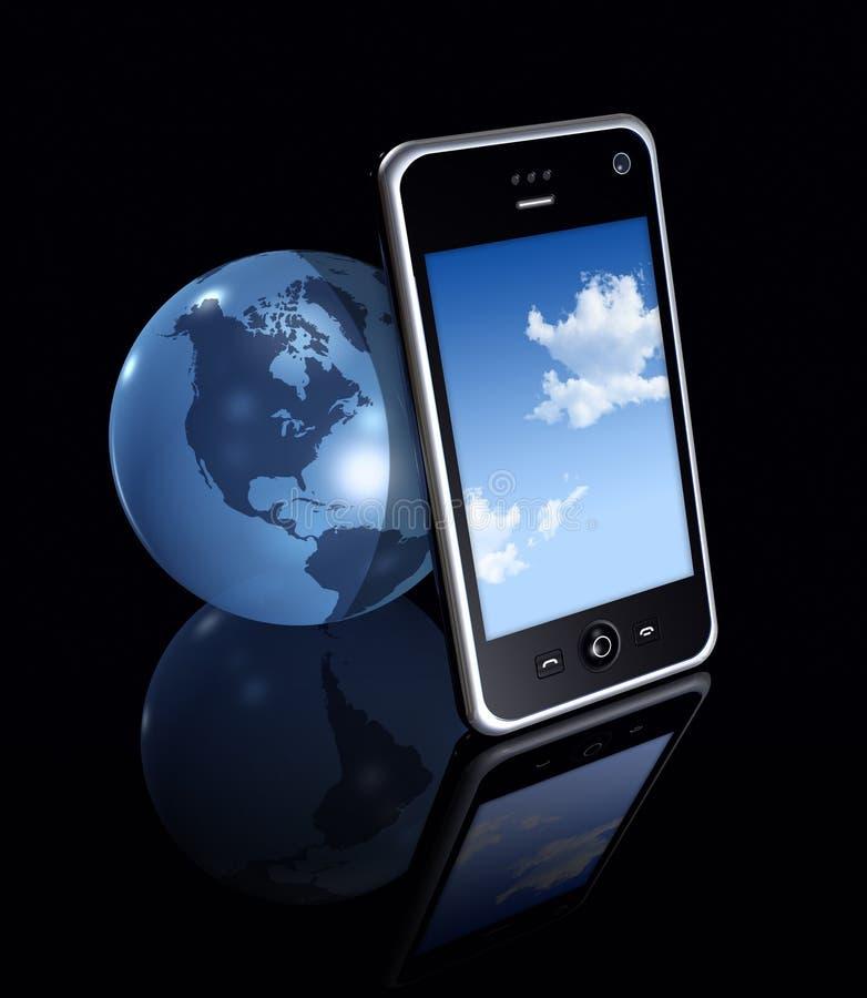globo del teléfono móvil 3D y de la tierra ilustración del vector