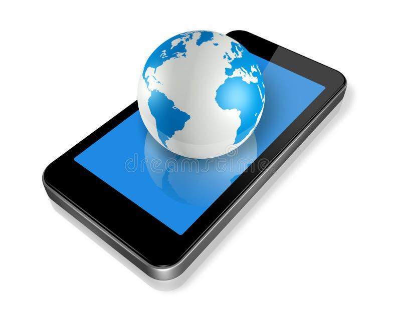 Globo del teléfono móvil y del mundo ilustración del vector