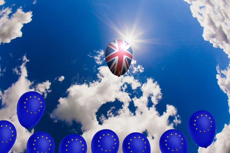 Globo del vuelo con la bandera del Reino Unido ilustración del vector