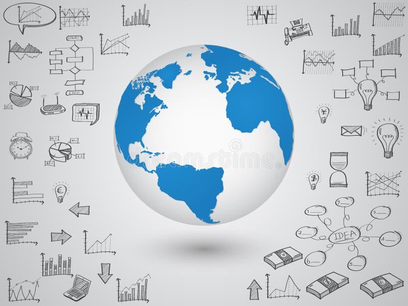 Globo della mappa di mondo con le icone di web, le icone di affari e le icone di tecnologia per tecnologia ed il concetto di affa illustrazione di stock