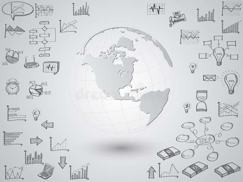 Globo della mappa di mondo con le icone di web, le icone di affari e le icone di tecnologia per tecnologia ed il concetto di affa illustrazione vettoriale