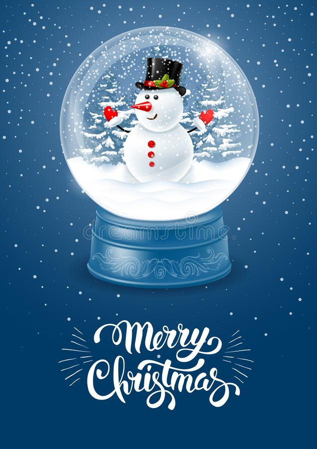 Globo della neve con il pupazzo di neve illustrazione di stock
