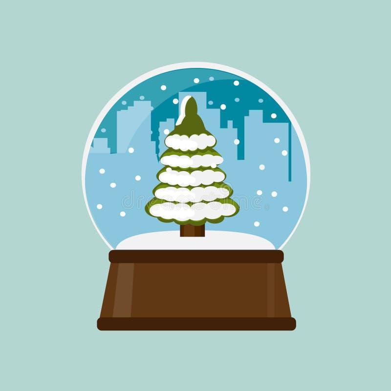 Globo della neve con l'albero di Natale Abete di natale royalty illustrazione gratis