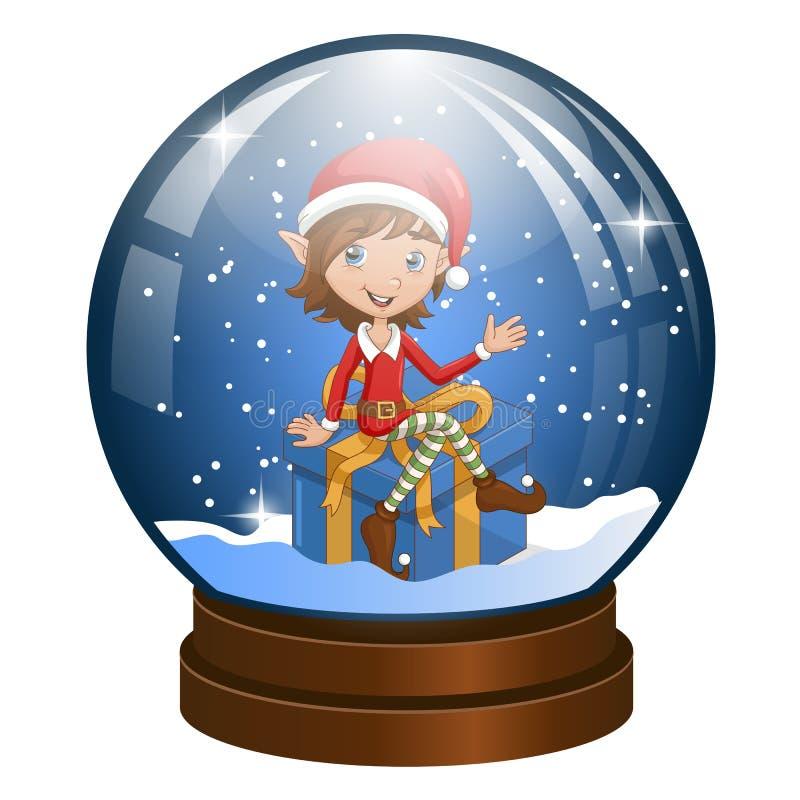 Globo della neve con l'elfo di Natale sul regalo dentro illustrazione vettoriale
