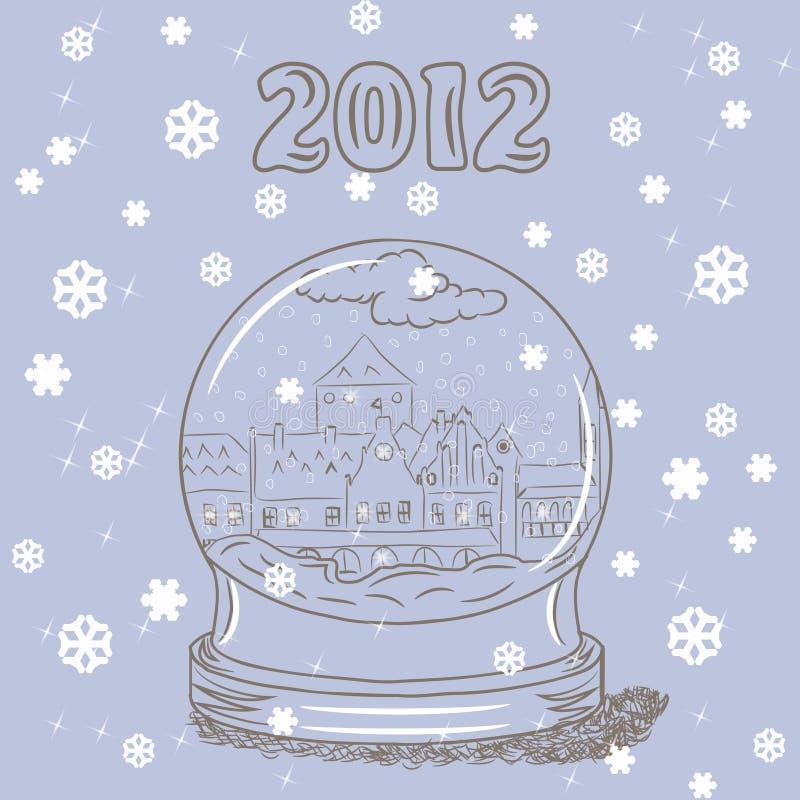 Globo della neve con la piccola città europea all'interno illustrazione vettoriale