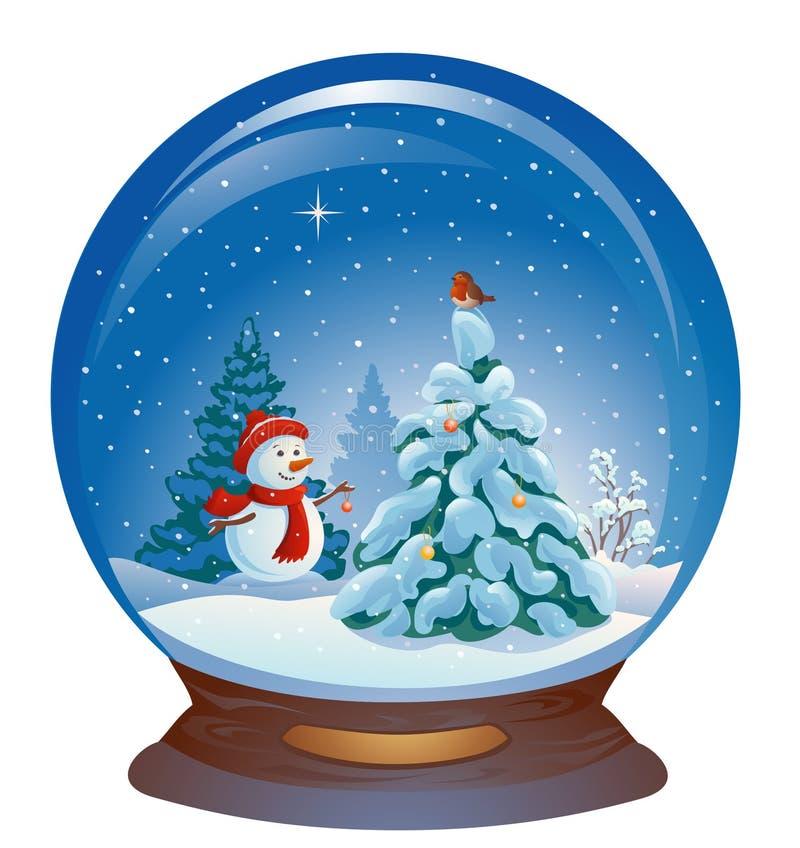 Globo della neve con un pupazzo di neve illustrazione di stock