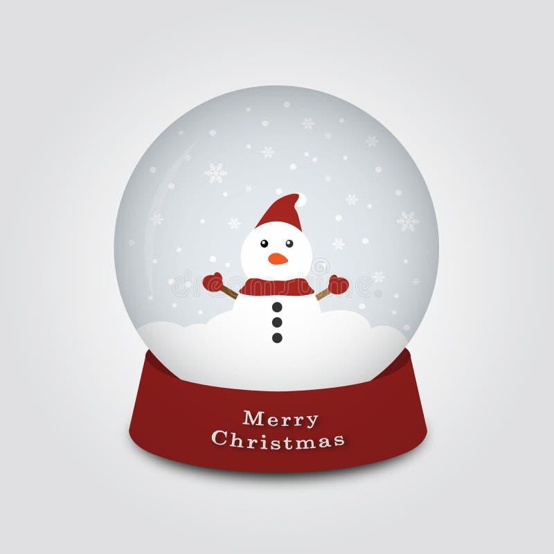 Globo della neve di Buon Natale con il pupazzo di neve un giorno freddo, illustrazione di vettore illustrazione di stock