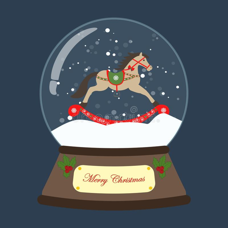 Globo della neve di Natale con l'illustrazione di vettore del cavallo a dondolo illustrazione di stock