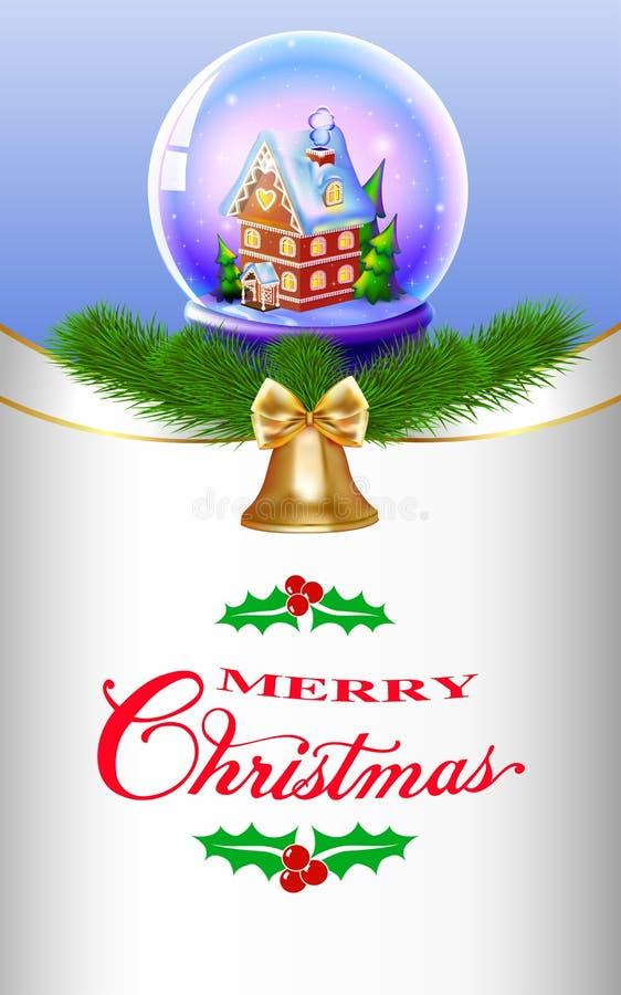 Globo della neve di Natale con una casa e gli alberi illustrazione di stock