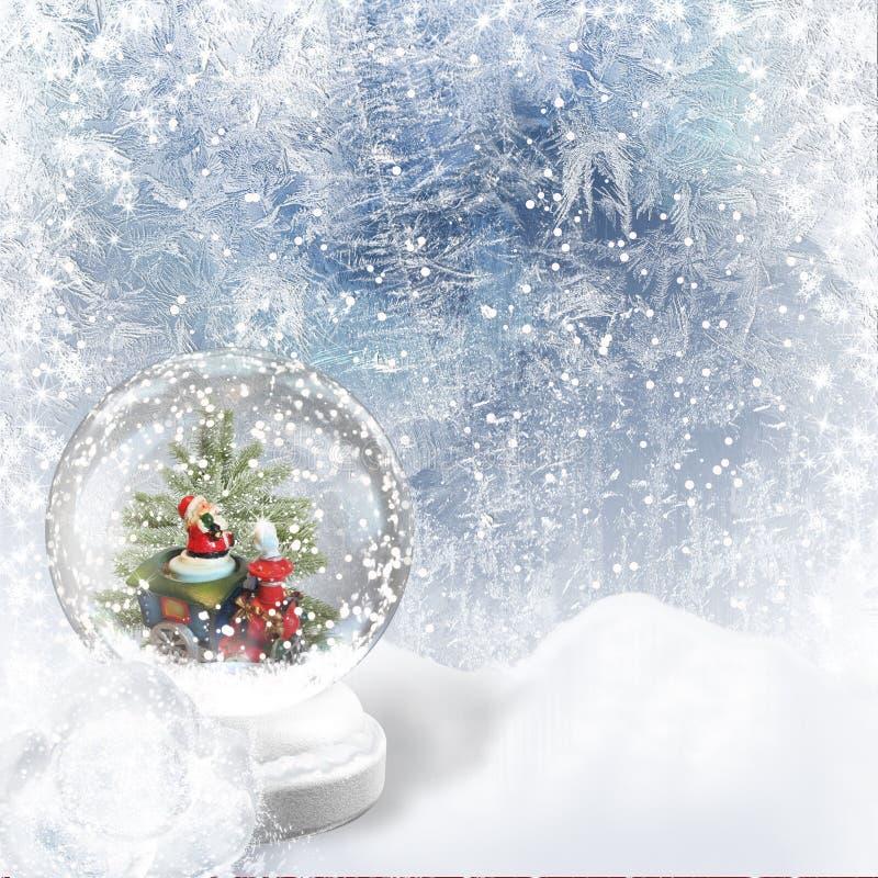 Globo della neve di natale sui precedenti di gelo illustrazione di stock