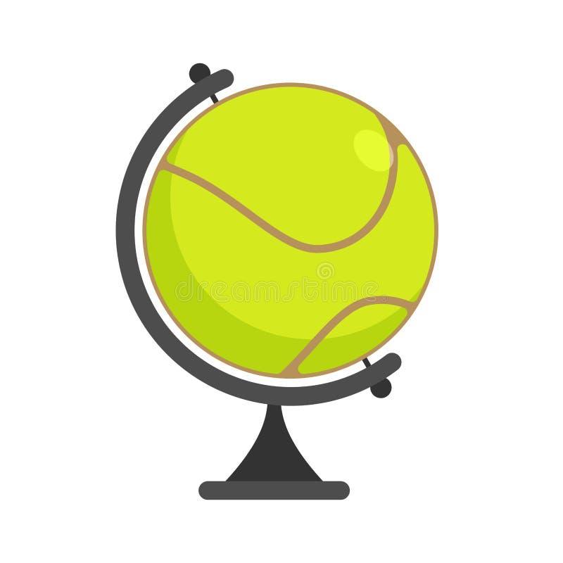 Globo della pallina da tennis Gioco di mondo Mette in mostra l'accessorio come sfera della terra illustrazione di stock
