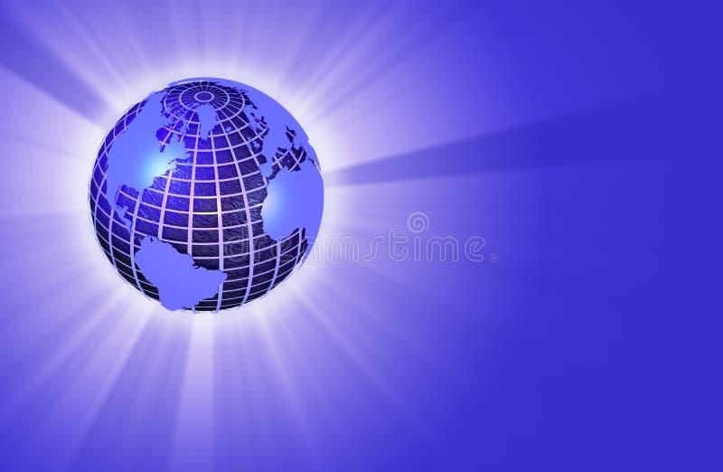 Globo della terra che irradia indicatore luminoso - orientamento lasciato illustrazione vettoriale