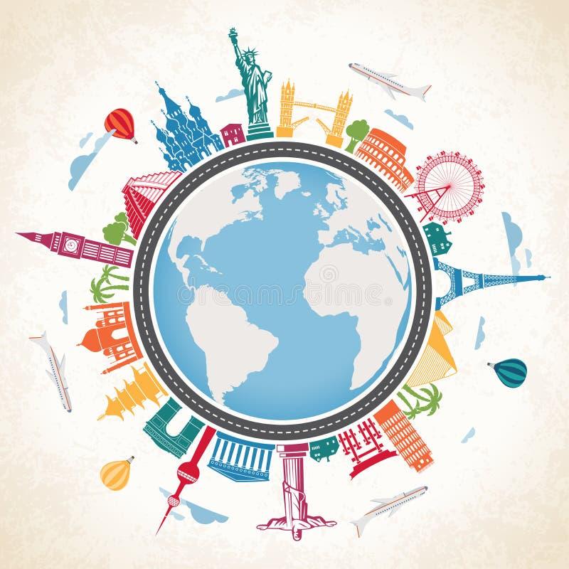 Globo della terra circondato dai punti di riferimento famosi illustrazione di stock
